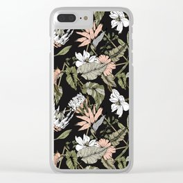 Dark pattern botanical boho Clear iPhone Case
