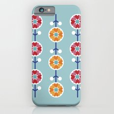 Scandinavian inspired flower pattern - blue background iPhone 6s Slim Case