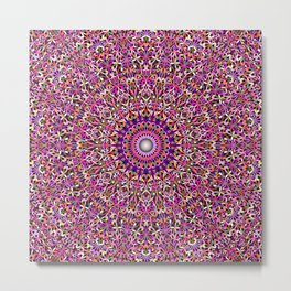 Colorful Girly Lace Garden Mandala Metal Print
