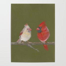Pastel Cardinals Poster