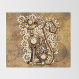 Steampunk Cat Vintage Style Throw Blanket
