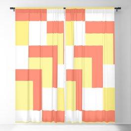 Squares Yellow + Salmon Blackout Curtain