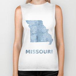 Missouri map outline Light steel blue blurred wash drawing Biker Tank