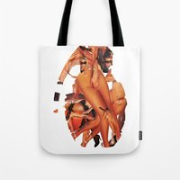 sex and the city Tote Bags featuring SEX BOMB!!! by Marko Köppe