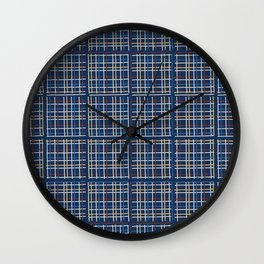 Navy Blue Criss Cross Weave Hand Drawn Vector Pattern Background Wall Clock