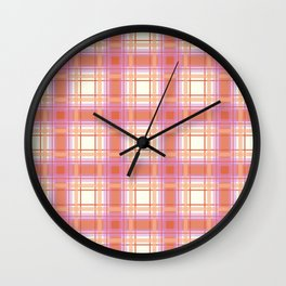 Peach Plaid with Pink and Yellow Wall Clock