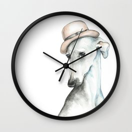 Bowler hat greyhound_ Illustrious dogs. Wall Clock