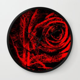 Red and Black Abstract Rose Wall Clock