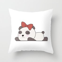 Panda Sleeping With Bow Cute Animals For Kids Throw Pillow