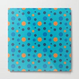Blue and Orange dots on Blue Metal Print
