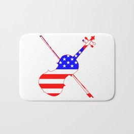 Stars And Stripes Fiddle Silhouette Bath Mat