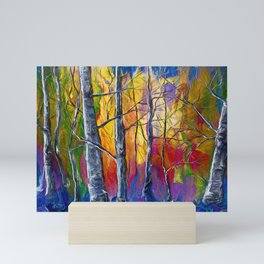 Enchanted Universe Sunset Forest Painting Mini Art Print