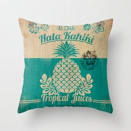Hala Kahiki Juice Stand wooden board. Throw Pillow