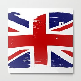 Union Jack British Flag With Grunge Metal Print