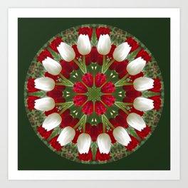 Tulip Kaleidoscope - Red And White Art Print