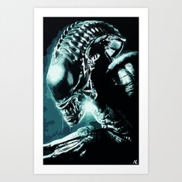 Alien Xenomorph Illustration, Horror, Sci-fi Film, Movie Pop art, Geeky Home Decor, Nerdy Poster Art Print