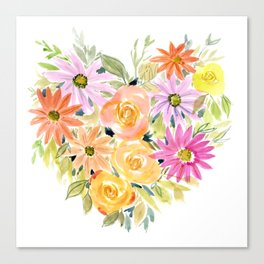 Floral Heart 1 Canvas Print