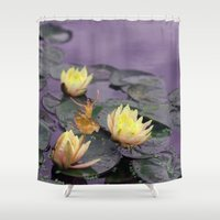 tinker bell Shower Curtains featuring tinker bell & tiger lilies by EnglishRose23