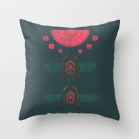 stargate Throw Pillows featuring Scarabs by Hector Mansilla