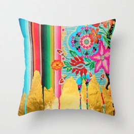 Gold Dipped Boho Serape Dream Throw Pillow