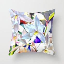 Cascading Cymbidium Throw Pillow