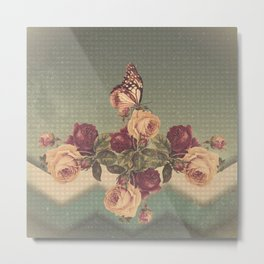 Vintage chevron, roses and butterfly Metal Print