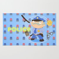 police Area & Throw Rugs featuring Police by Alapapaju
