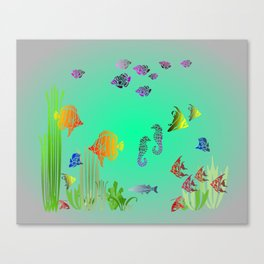 Colored Fish and Seahorse Canvas Print