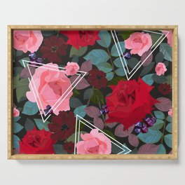 Triangles With Vintage Red Pink Roses and Chocolate Cosmos Flower Pattern Serving Tray