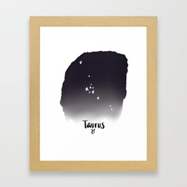 Taurus Star sign, Constellation, Astrology, Horoscope, Zodiac Grey Watercolor Framed Art Print
