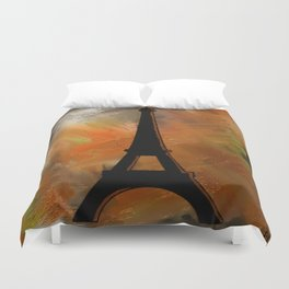 Rustic Eiffel Tower Duvet Cover