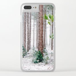 Winter Forest (Color) Clear iPhone Case