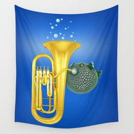 Puffer Fish Playing Tuba Wall Tapestry