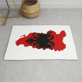 Albania Map with Albanian Flag Rug