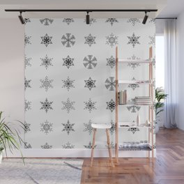 Snowflake Pattern - Black and white winter snowflake pattern artwork Wall Mural