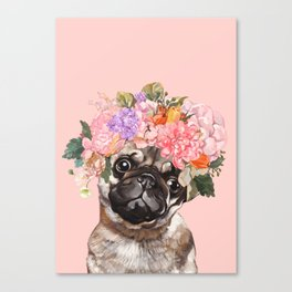 Pug with Flower Crown Canvas Print