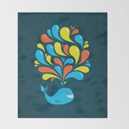 Dark Colorful Happy Cartoon Whale Throw Blanket