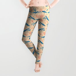 blue mantises and red palms pattern. Leggings
