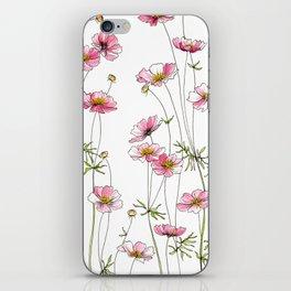 Pink Cosmos Flowers iPhone Skin