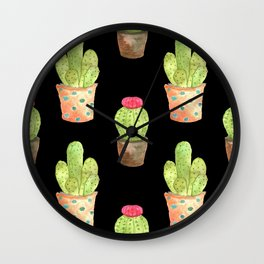 watercolor cacti on black background Wall Clock