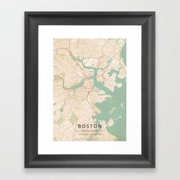 Boston, United States - Vintage Map Framed Art Print