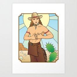 Demure Cowboy Love Art Print
