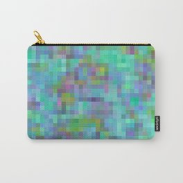 geometric square pixel pattern abstract in green blue pink Carry-All Pouch