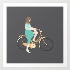Girl on a bike Art Print