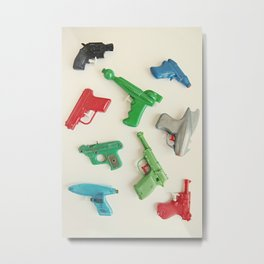 colourful vintage water guns Metal Print