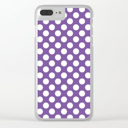 White Polka Dots with Purple Background Clear iPhone Case