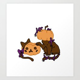 Pumpkin Kitty Art Print
