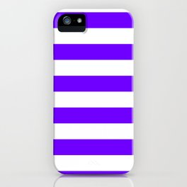 Horizontal Stripes - White and Indigo Violet iPhone Case