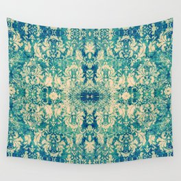 Vintage Blue Turquoise Floral Damask Pattern Wall Tapestry