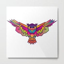 Owl | Geometric Colorful Low Poly Animal Set Metal Print